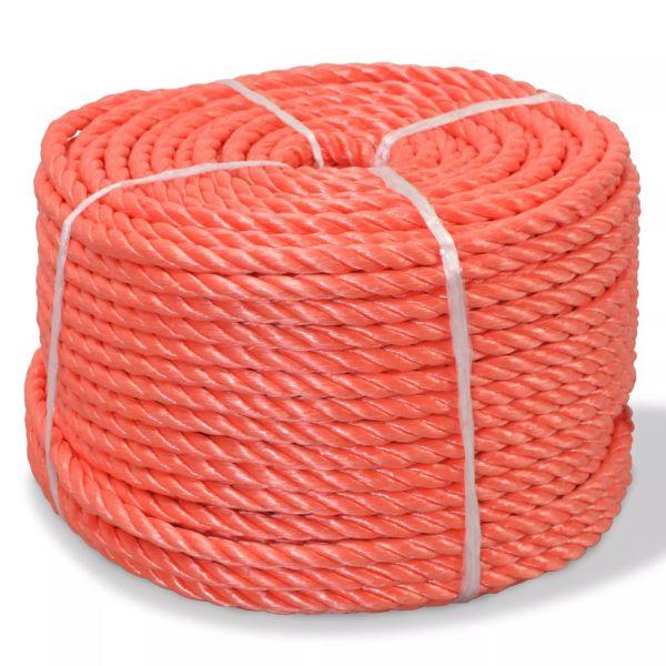 vidaXL Frânghie împletită polipropilenă 10 mm 100 m, portocaliu