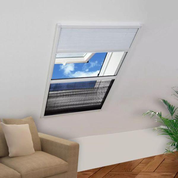 vidaXL Ecran insecte pentru ferestre, cu umbrar, aluminiu, 80×120 cm