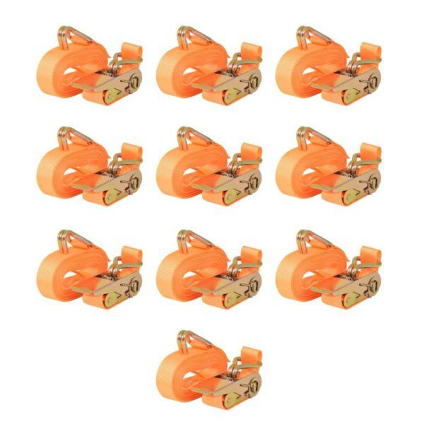 vidaXL Chingi fixare cu clichet, 10 buc, 0,4 tone, 6mx25mm, portocaliu