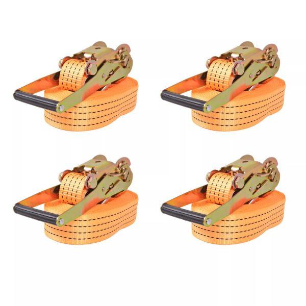 vidaXL Chingi fixare cu clichet, 4 buc, 2 tone, 8m x 50mm, portocaliu
