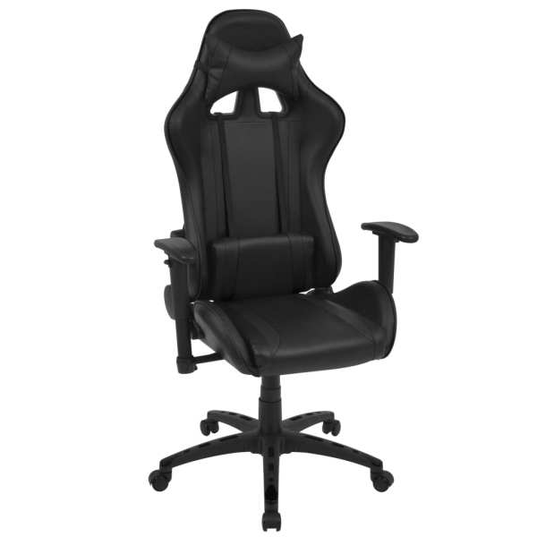 vidaXL Scaun birou rabatabil, design racing, piele artificială, negru