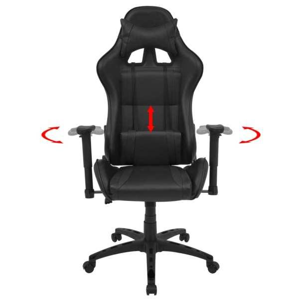 Scaun birou rabatabil, design racing, piele artificială, negru