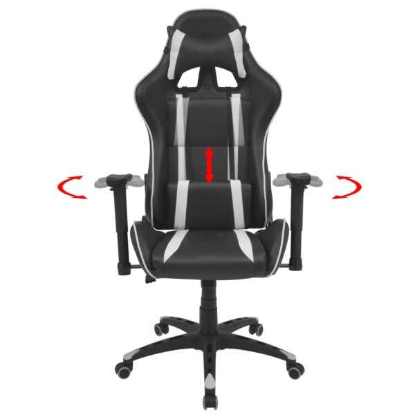 Scaun birou rabatabil cu design racing, piele artificială, alb