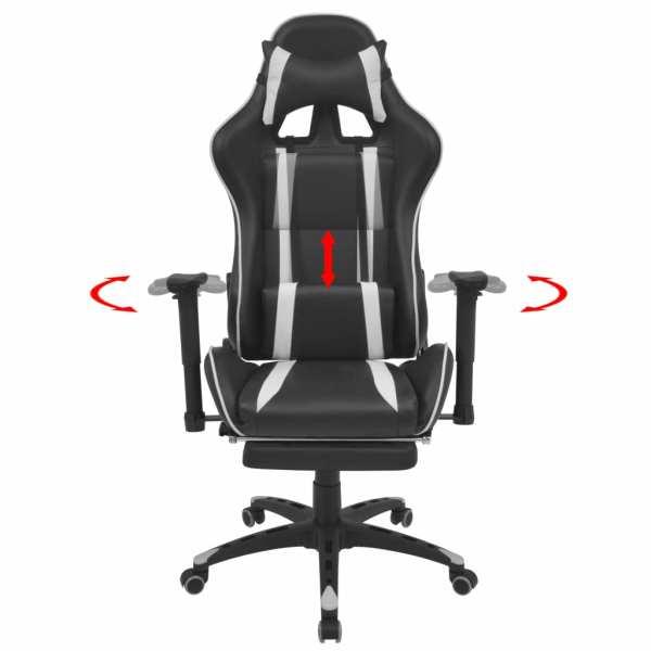 vidaXL Scaun birou rabatabil, design racing, suport picioare, alb