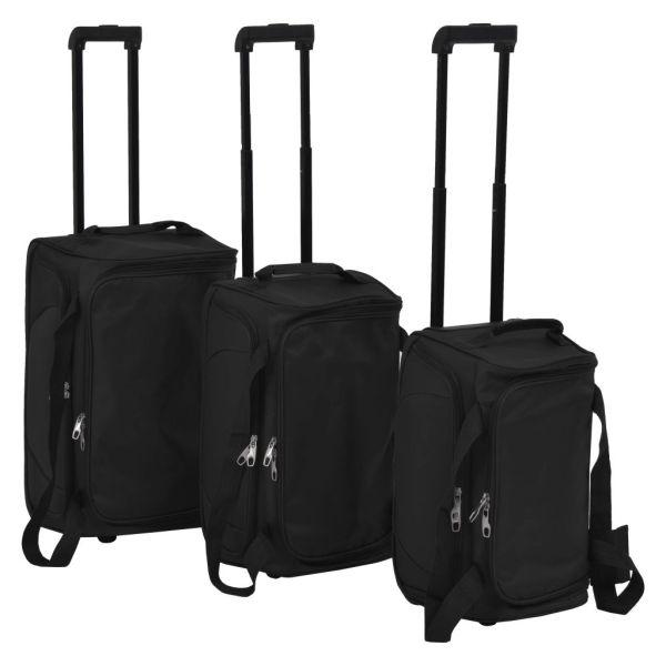 vidaXL Set de valize, 3 piese, negru