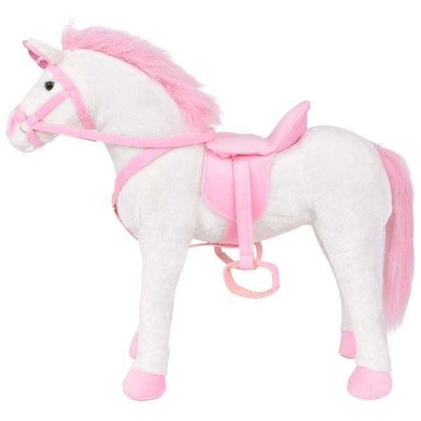 Jucărie Unicorn din pluș Alb și Roz XXL