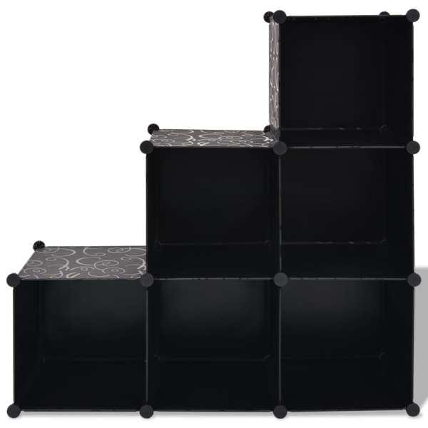 vidaXL Dulap de depozitare tip cub, 6 compartimente, negru