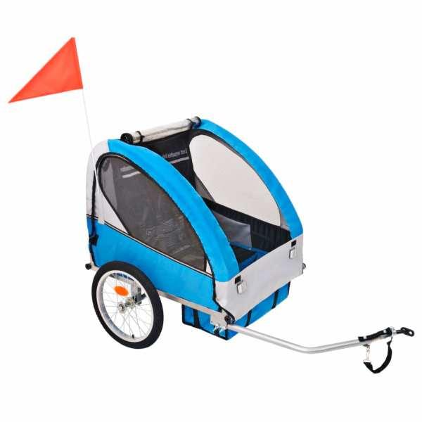 vidaXL Remorcă de bicicletă pentru copii, gri și albastru, 30 kg