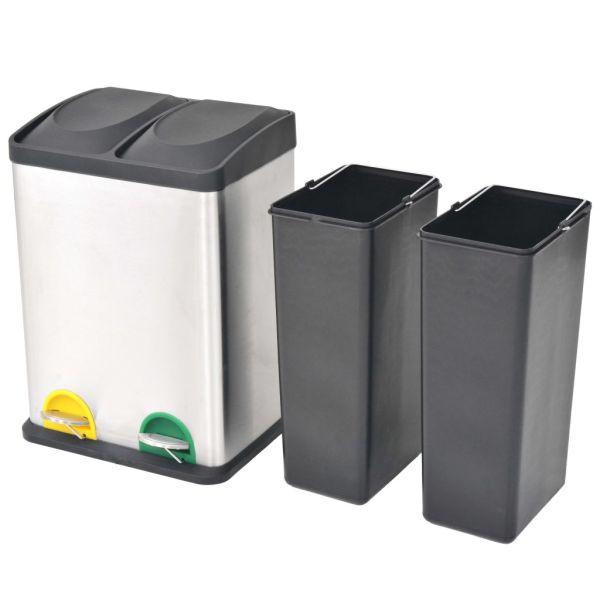 vidaXL Coș gunoi cu pedale pentru reciclare, oțel inoxidabil, 2 x 18 L