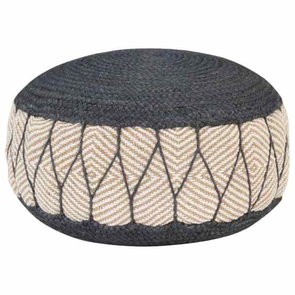 vidaXL Fotoliu pouf tricotat manual, iută și bumbac, 50×30 cm albastru
