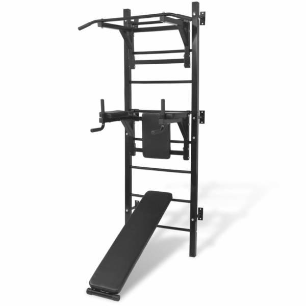 vidaXL Turn Fitness multifuncțional de perete, negru