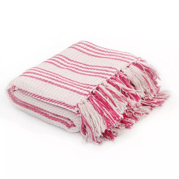 vidaXL Pătură decorativă cu dungi, bumbac, 220 x 250 cm, roz și alb