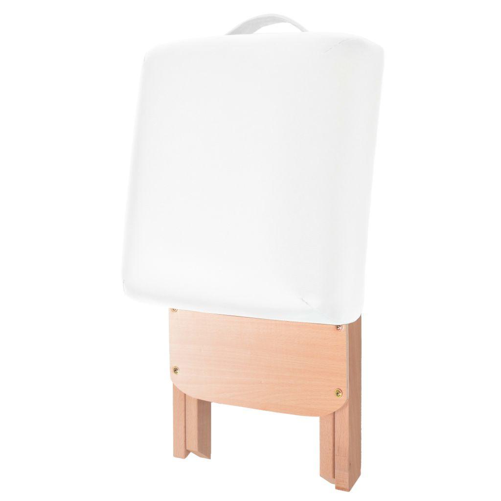 vidaXL Taburet pliabil de masaj cu șezut gros de 12 cm, alb