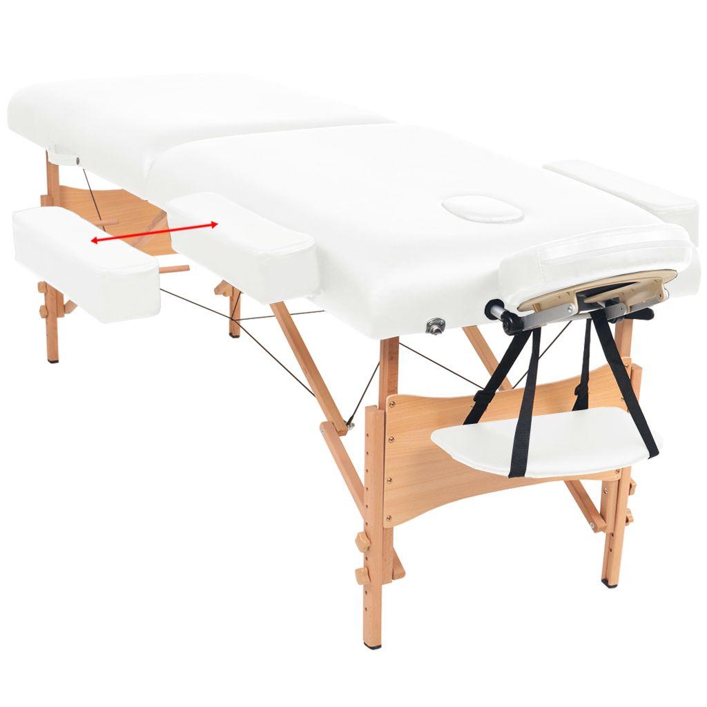 Masă de masaj pliabilă cu 2 zone, 10 cm grosime, Alb