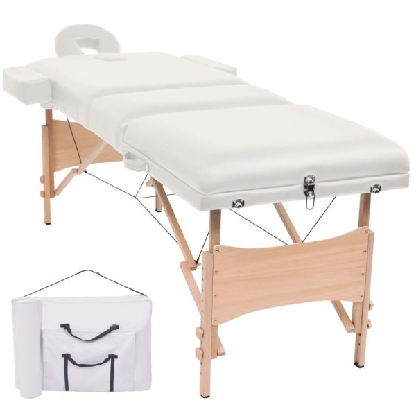 vidaXL Masă de masaj pliabilă cu 3 zone, 10 cm grosime, Alb