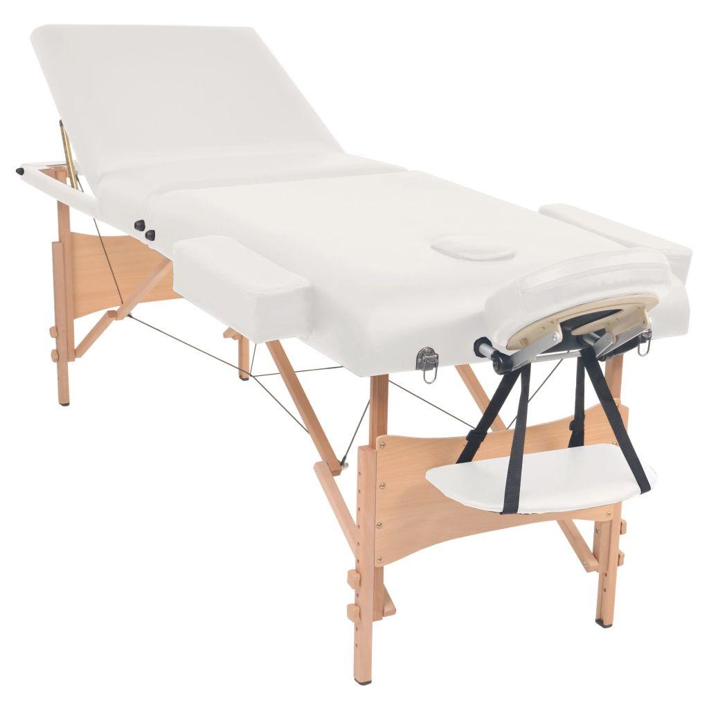 Masă de masaj pliabilă cu 3 zone, 10 cm grosime, Alb