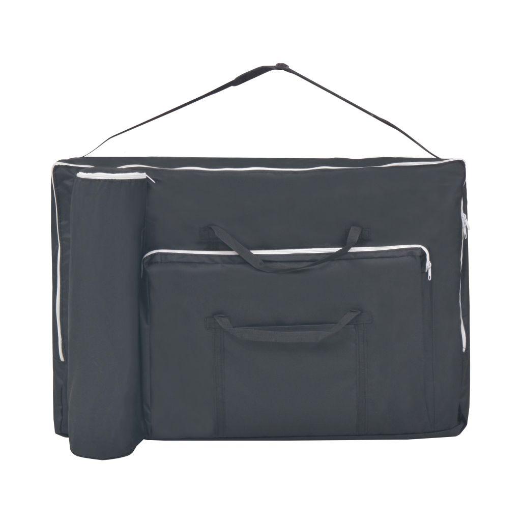 Set taburet și masă masaj pliabilă 2 zone, 10 cm grosime, negru
