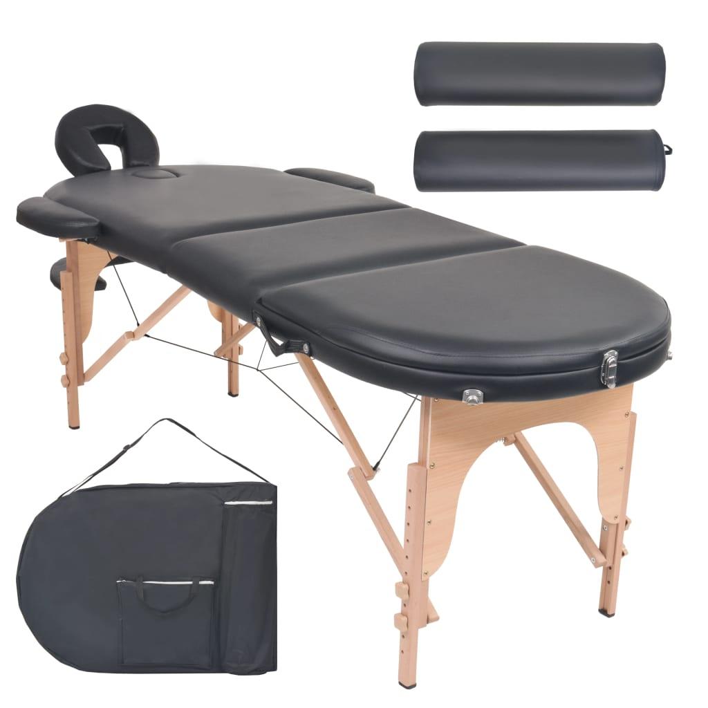 vidaXL Masă masaj pliabilă, 4 cm grosime, cu 2 perne, negru, oval