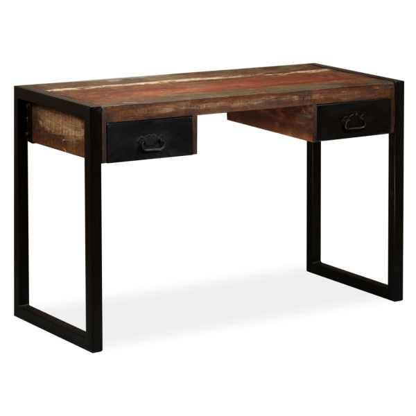 vidaXL Birou cu 2 sertare din lemn masiv reciclat, 120 x 50 x 76 cm