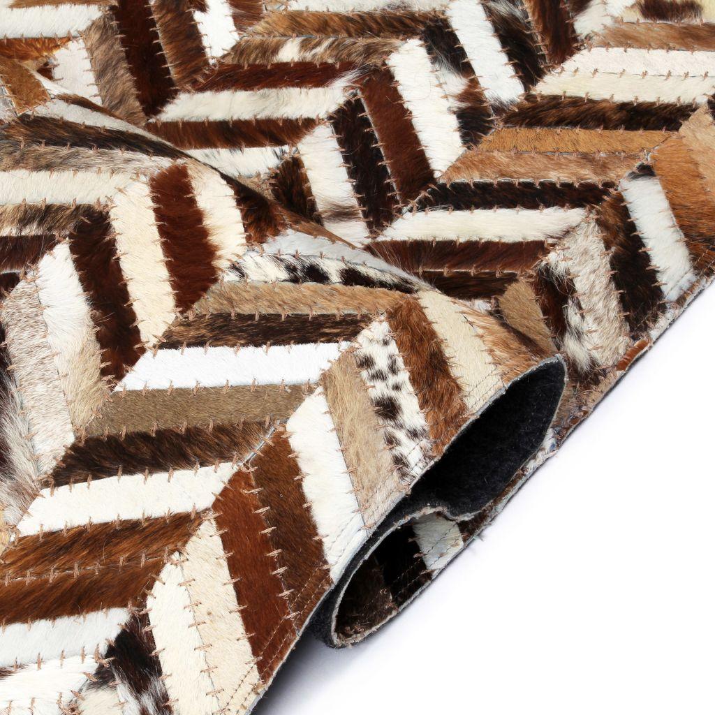 vidaXL Covor piele naturală, mozaic, 120×170 cm zig-zag Maro/alb