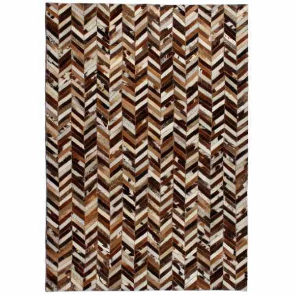 vidaXL Covor piele naturală, mozaic, 190×290 cm Zig-zag Maro/alb