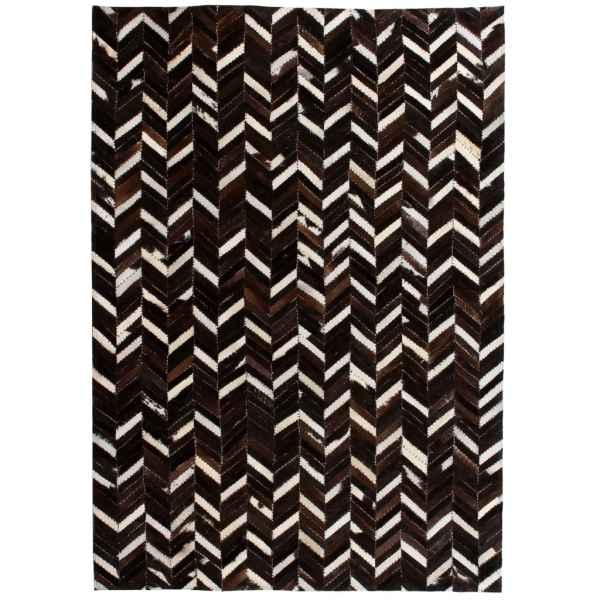 vidaXL Covor piele naturală, mozaic, 160×230 cm zig-zag Negru/Alb