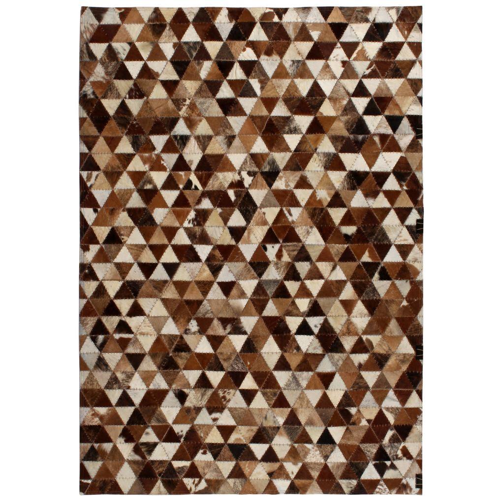 vidaXL Covor piele naturală, mozaic, 120×170 cm Triunghiuri Maro/alb