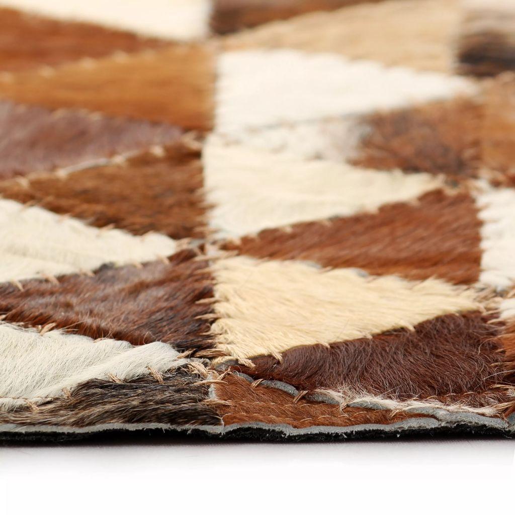 Covor piele naturală, mozaic, 120×170 cm Triunghiuri Maro/alb