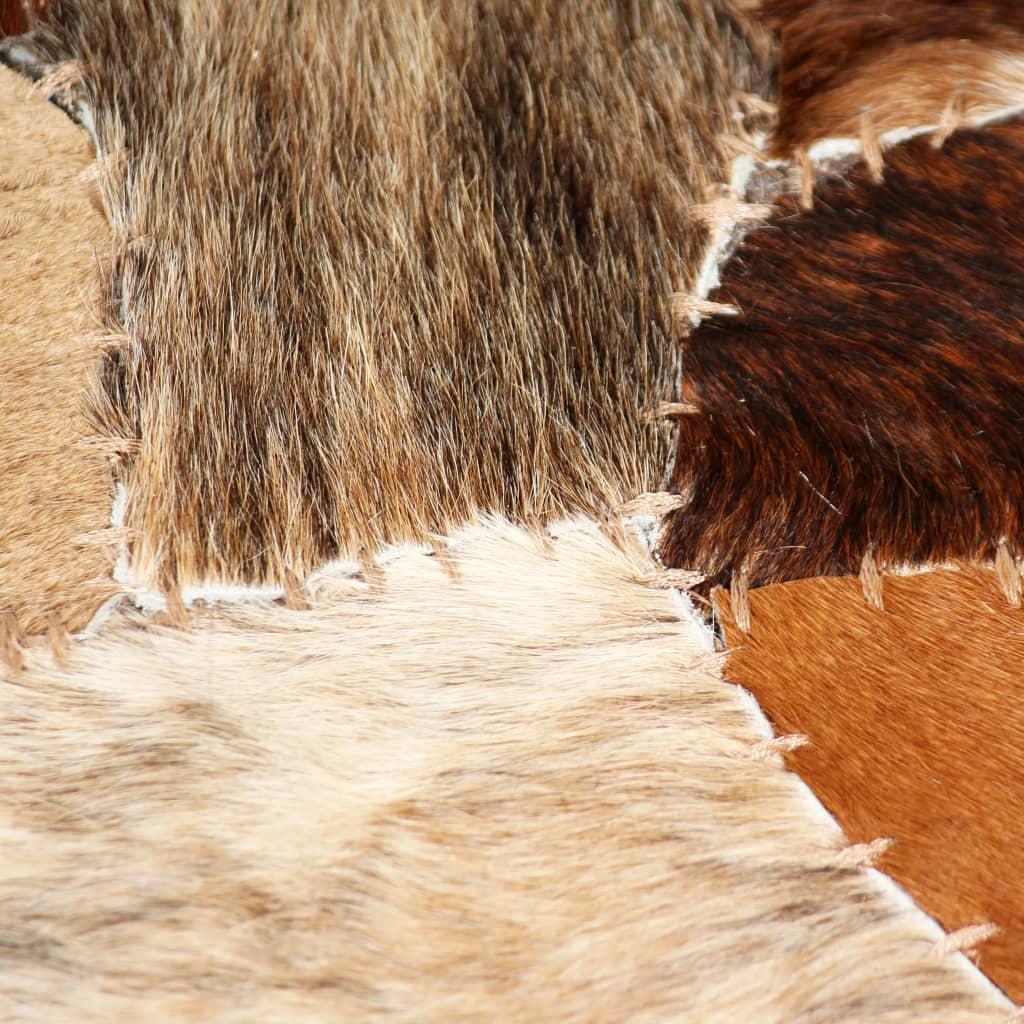 Covor piele naturală, mozaic, 160×230 cm Maro/alb