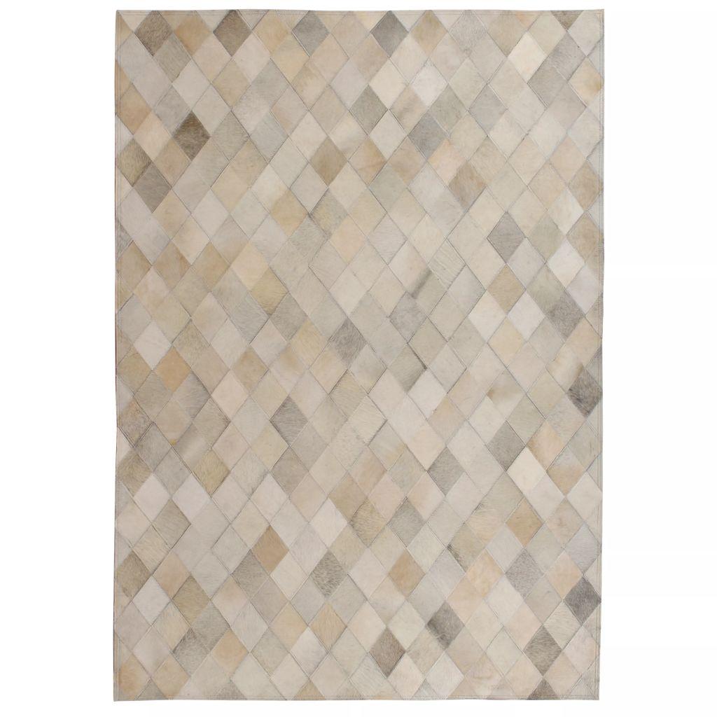 vidaXL Covor petice, Romb, Piele naturală 80×150 cm Gri