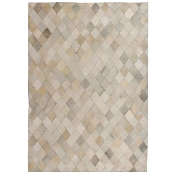 vidaXL Covor piele naturală, mozaic, 120×170 cm Romburi Gri