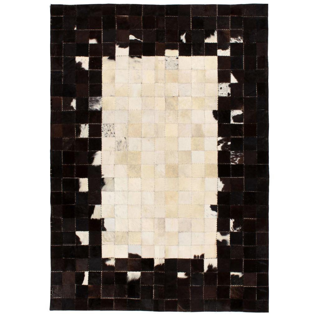 vidaXL Covor piele naturală, mozaic, 120×170 cm Pătrate Negru/alb