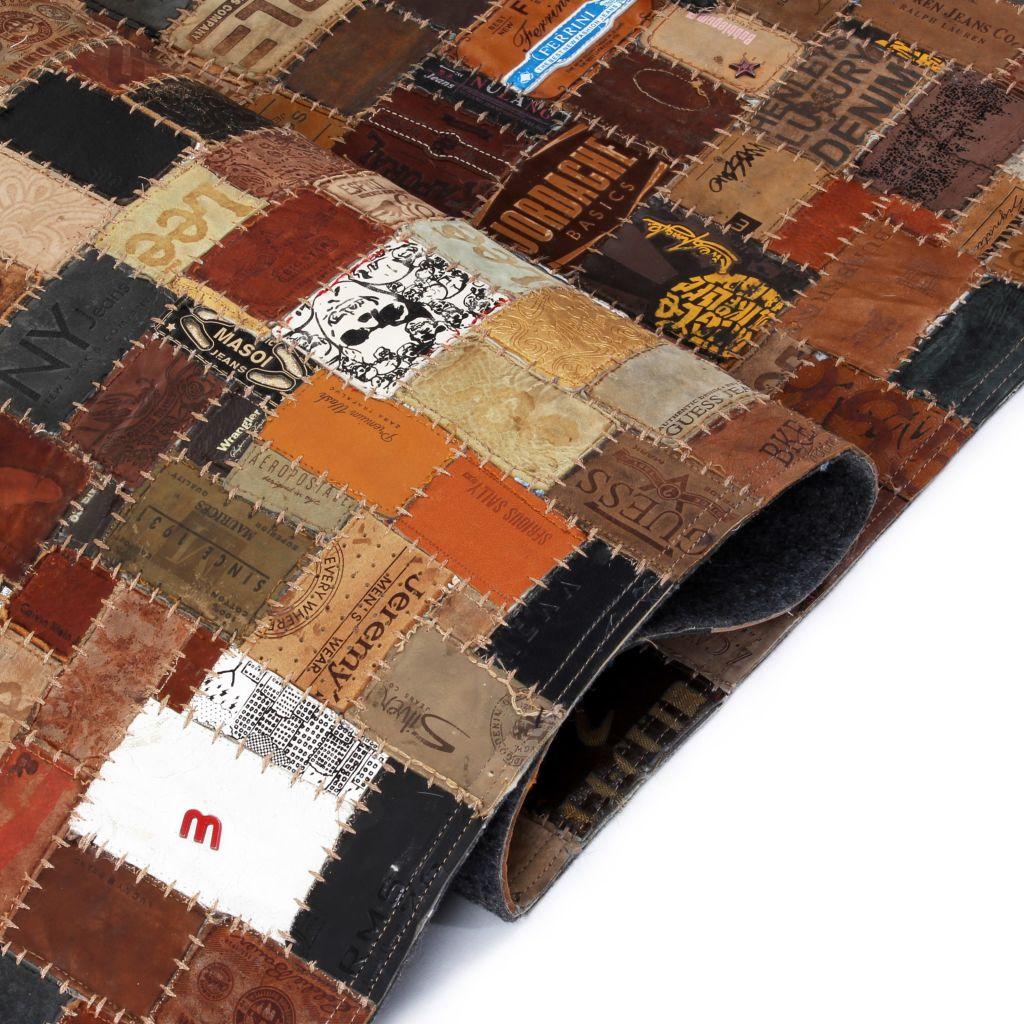 Covor Piele naturală Colaj etichete jeans 160×230 cm Maro