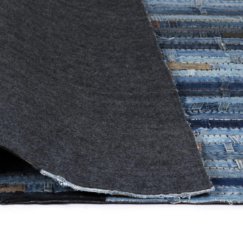 Covor petice jeans 160×230 cm Albastru denim
