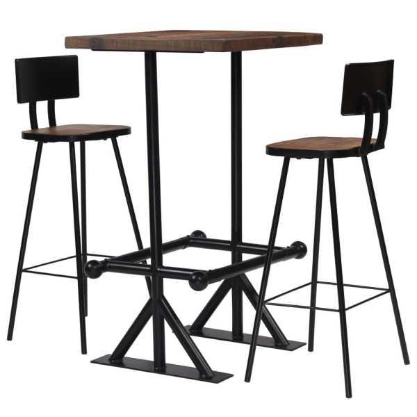 vidaXL Set de bar, 3 piese, lemn masiv reciclat
