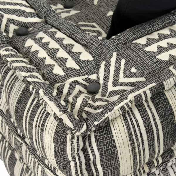 Canapea puf modulară cu 3 locuri, gri cu dungi, material textil