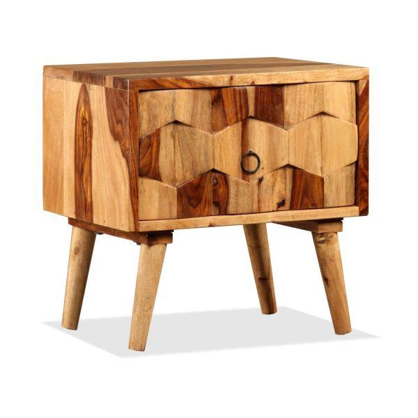vidaXL Noptieră cu 1 sertar, lemn masiv de sheesham