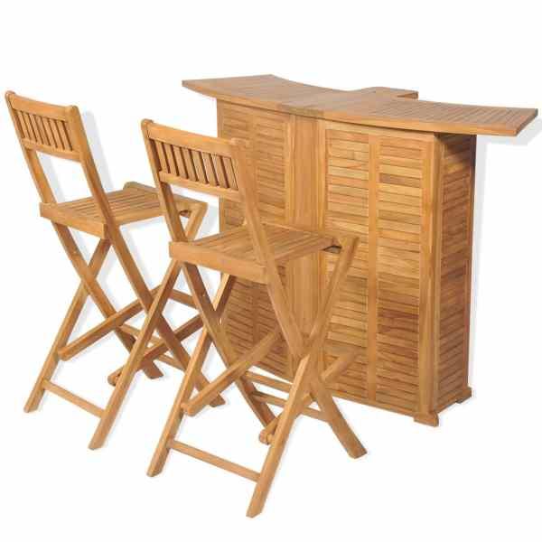 vidaXL Set de bar cu scaune pliabile, 3 piese, lemn masiv de tec