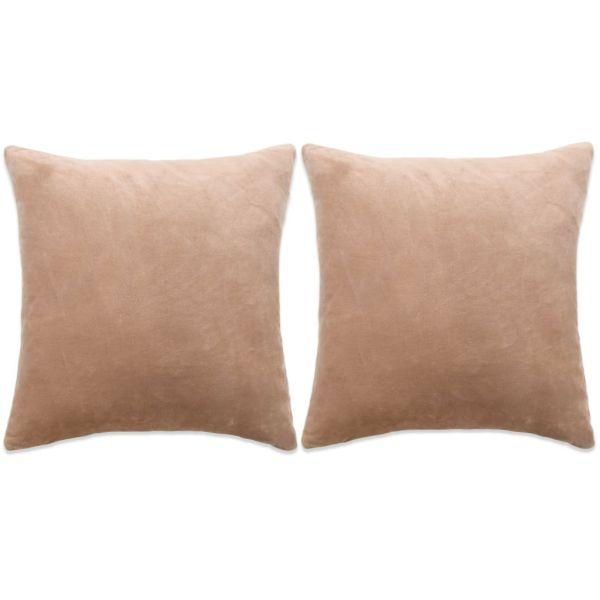 vidaXL Set perne decorative, 2 buc, velur 45 x 45 cm, bej