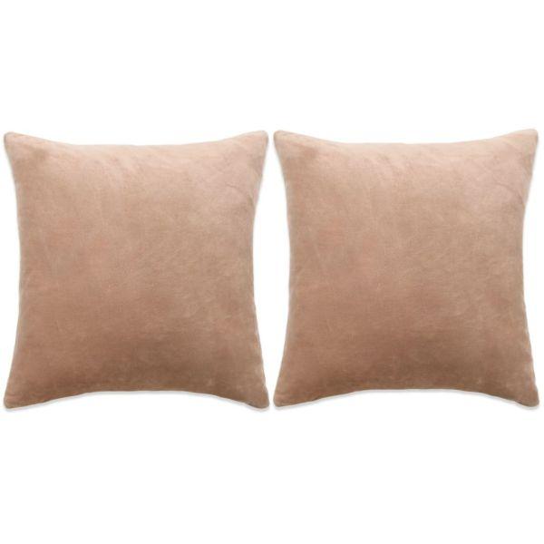 vidaXL Set perne decorative 2 buc, velur 60 x 60 cm, bej