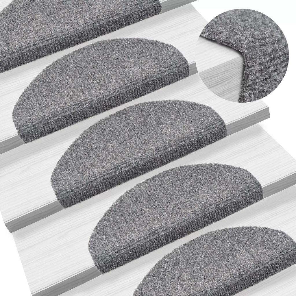 vidaXL Covorașe autocolante scări, 15 buc, 65 x 21 x 4 cm, gri deschis