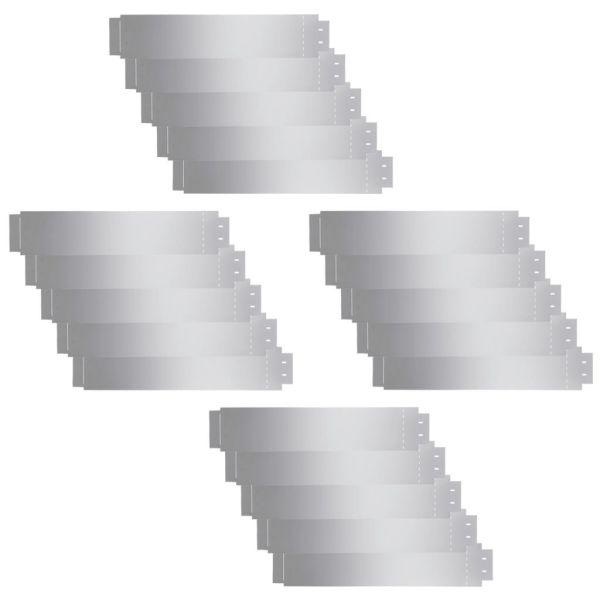 vidaXL Gard de gazon, 20 buc., 100 x 20 cm, oțel galvanizat