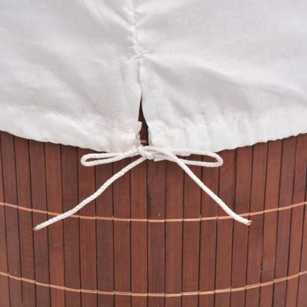 Coș de rufe din bambus, rotund, maro