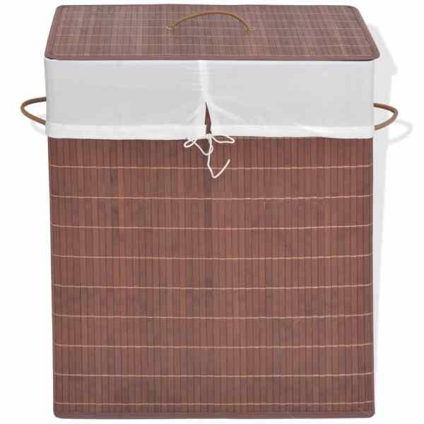 vidaXL Coș de rufe din bambus, dreptunghiular, maro