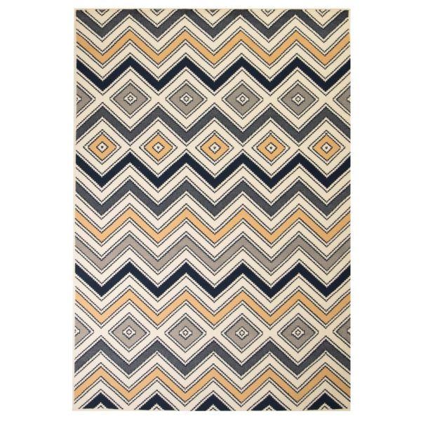 vidaXL Covor modern cu design zigzag, 140×200 cm, maro/negru/albastru