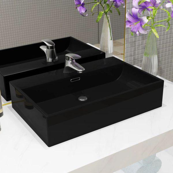 vidaXL Chiuvetă baie, orificiu robinet, ceramică 76×42,5×14,5 cm negru