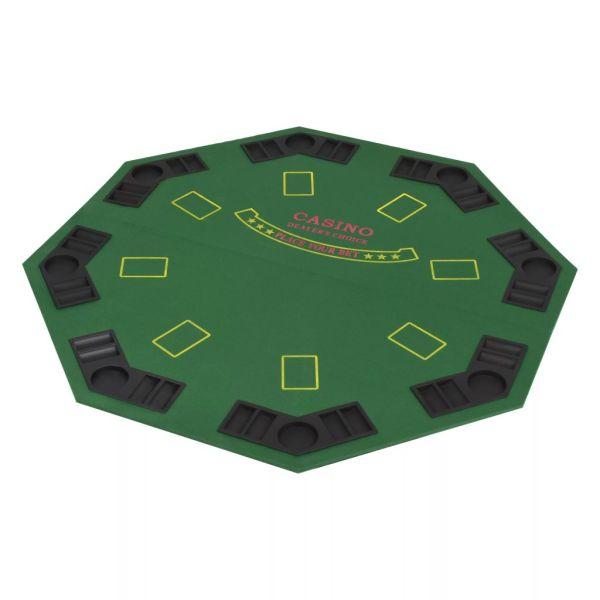 Masă poker pliabilă în două părți, 8 jucători, octogonal Verde
