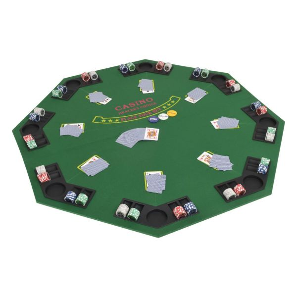 vidaXL Masă poker pliabilă în două părți, 8 jucători, octogonal Verde
