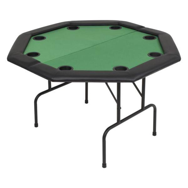vidaXL Masă poker pliabilă în două părți, 8 jucători, octogonal, Verde