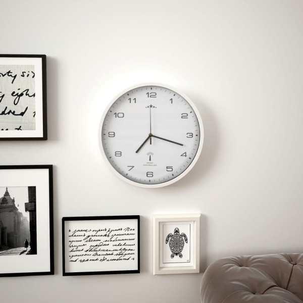 Ceas de perete controlat prin semnal radio, cuarț, alb, 31 cm